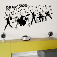 DIY non toxic waterproof and removable Rock you music room wall sticker bar decoration home living room sofa background sticker