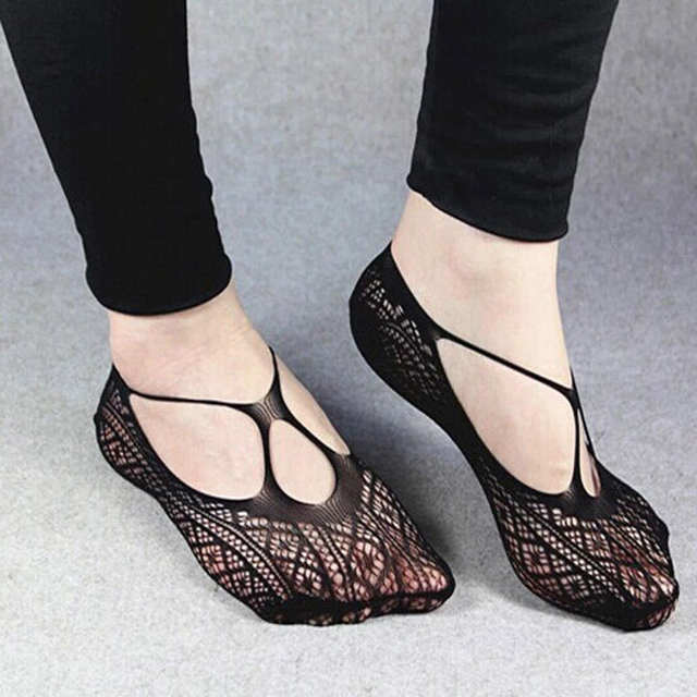 02f2eba5e Online Shop Female Black Sexy Lady Girl Cross Lace No Show Peds Anti-skid  Invisible Liner Low Cut Ankle Boat Socks Slippers For Woman