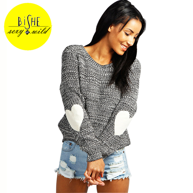 BISHE Pullover Sweater Pull Femme Cotton Knitting Heart Shape Long ...