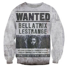 Vintage Fashion Design Sweatshirts Men Harry Potter Wanted Bellatrix Lestrange Crewneck Pullovers Harajuku Tops Sudaderas Homme(Hong Kong)