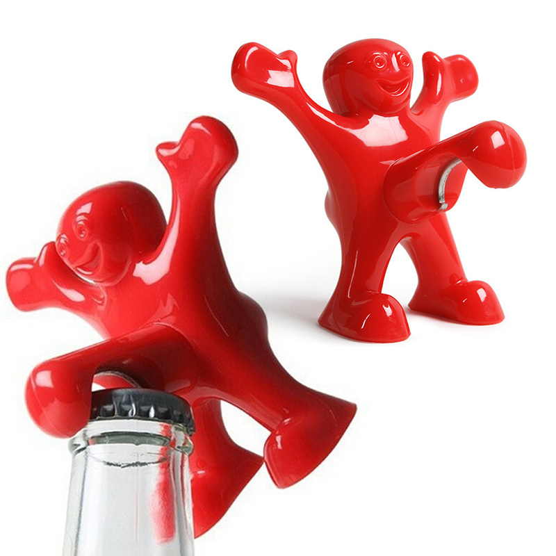 1 Pc Novelty Red Man Wine Opener Small Bar Tools Wine Cork Bottle Plug Funny Happy Guy Openers Xmas Santa Gift Bottle Opener