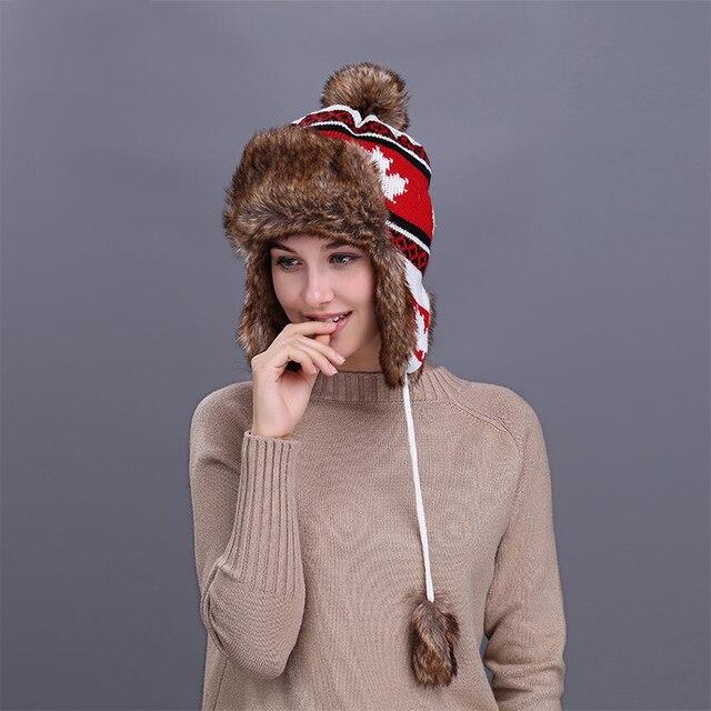 171ab1ae3bb4 MingJieBiHuo En Plein Air automne et d hiver nouvelle mode chaud épais  Simple sauvage Feuille D érable Impression tricot chapeau femmes filles  Bomber ...