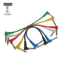 Tooyful 6Pc Guitar Audio Cable Connector Effect Pedal Patch Cable Right Angle Multicolor Audio Plug Musical Tool for Bass Guitar