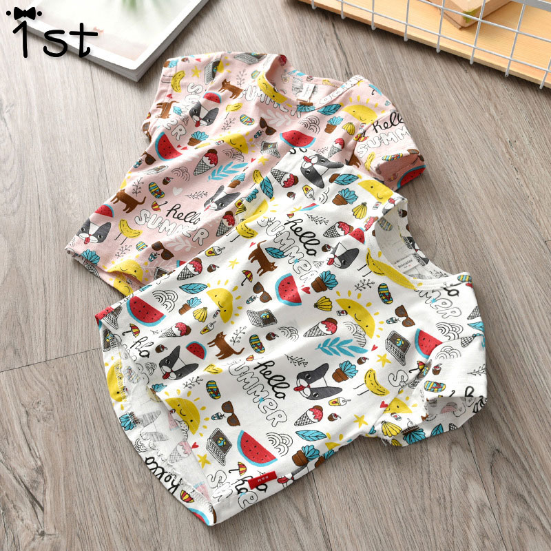 Children's T-Shirt Print Short-Sleeved Fashion Cotton Cartoon Summer New And Casual 1-St