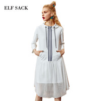 ELF SACK Autumn Women Hooded Mesh Dresses Parchwork White Striped One Piece 2017 A Line Ladies