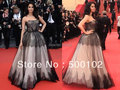 Inspired by Cannes' Film Festival Mallika Sherawat Black Strapless A Line Evening Dresses