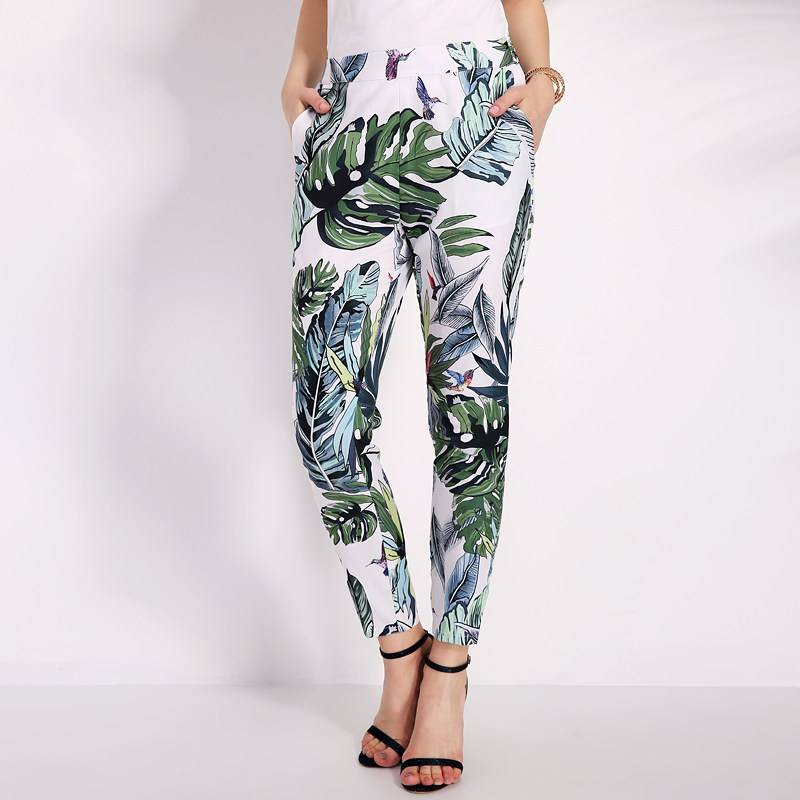 2018 Summer Pants Women Floral Print Pencil Pants Ladies Vintage Casual Elastic Waist Long Trousers Pantalon Femme Hot Sale