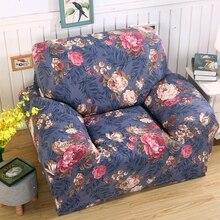 Blau Blumen Print Stretch Sofa Abdeckung Fr Wohnzimmer Polyester Elastische Ecke 4