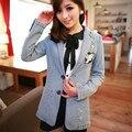 Женщины деним куртка осень зима опрятный вышивка джинсы куртка пальто jaqueta feminina casacos femininos 5036