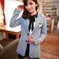 Women Denim Jacket 2015 Autumn Winter Preppy Fashion Embroidery Jeans Jacket Coat jaqueta feminina casacos femininos 5036