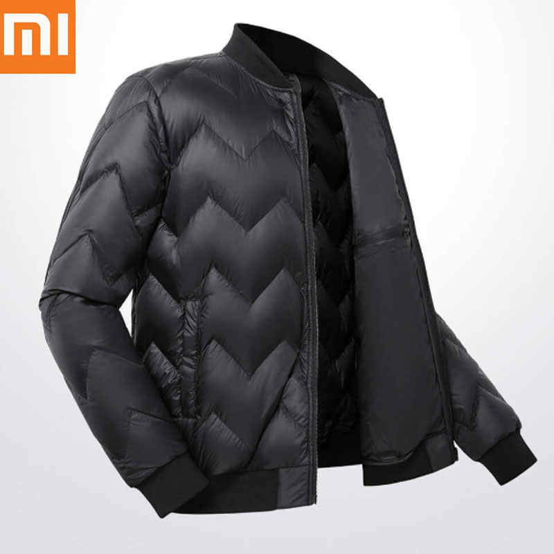 Original Xiaomi ULeemark Men Down Baseball Jacket Casual Zip Jacket Multi Pocket Ultra light Warm Winter