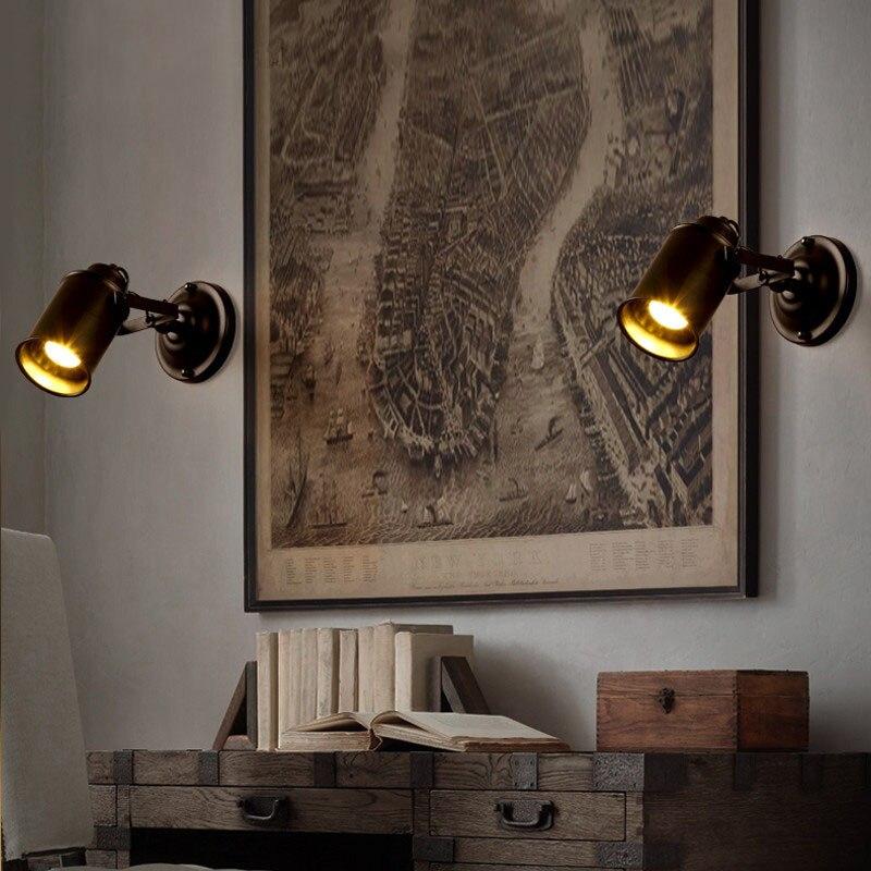 Retro Indoor Lighting Black Wall Lamp Industrial Loft Wall Mounted Bedside Wall Lighting Adjustable Spot Wall Lamp for Home(27)