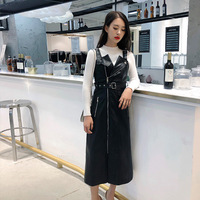 2018 dress Autumn and winter new long section Slim strap strap pu leather waist dress Q89