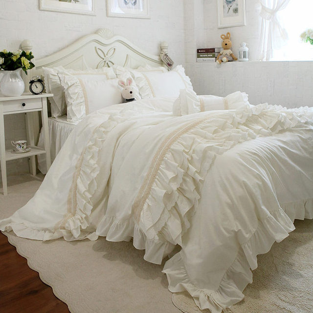 Top Beige Elegant Bedding Set Ruffle Layers Duvet Cover Bedding Handmade  Wrinkle Lace Bedspread Elgant Bed