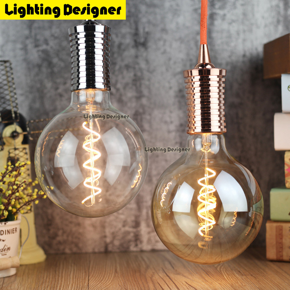 G125 edison led bulb E27 110V 220V spiral light amber retro saving lamp vintage filament Edison lamp led light chandelier 220V4W retro lamp st64 vintage led edison e27 led bulb lamp 110 v 220 v 4 w filament glass lamp