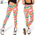 S-xl de la mujer galaxy print leggings tiempo aventura legging moda rainbow imprimir leggins flaco leggings elásticos de las mujeres