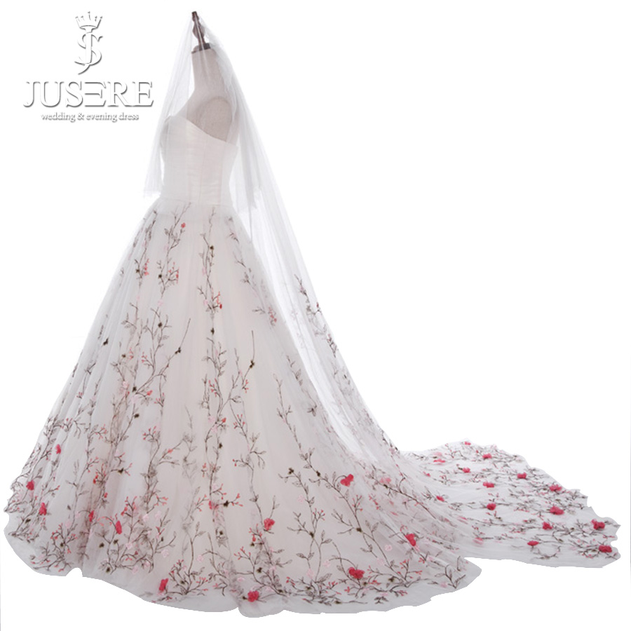 Off Shoulder Satin Ruch Corset Sweetheart Shirred Bridal Floral Gown Embroidery Branch Skirt Bride Flower Wedding Dress 2018