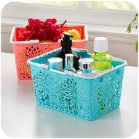 Colorful flowers rhyme portable basket carved hollow bathroom sundries basket Desktop Storage Basket K3404