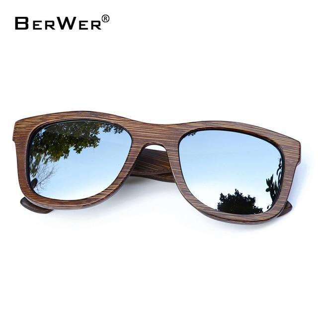 BerWer 2020 موضة النظارات الشمسية المستقطبة المتاحة نظارات شمسية خشبية من الخيرزان