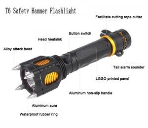 Image 3 - 2000LM LED الأمن التكتيكية الشرطة مصباح ليد جيب الدفاع عن النفس متعددة الوظائف في الهواء الطلق بقاء الشعلة كري XML T6 Torchlight
