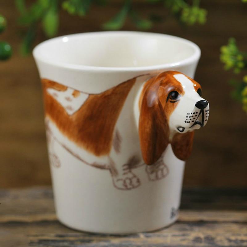 cute cartoon 3D coffee cup Basset Hound dogs cup funny coffee mug tazas de ceramica creativas coffee mugs creative