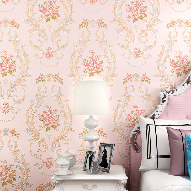 3D European Style Pastoral Damask Flower Non-woven Wall Paper Living Room Bedroom TV Background Wall Full House Wallpaper Roll