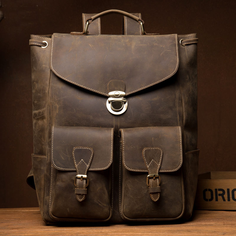 Men Real Leather Vintage Travel Bag University School Bag Crazy Horse Cowhide Men Backpack Male Backpack Daypack Student Bags men crazy horse real leather fashion travel bag university school book bag cowhide design male backpack daypack student bag male