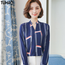 TUHAO 2018 Spring  women's clothing chiffon Blouse long sleeve new Korean striped casual female blouses shirt work top SD09