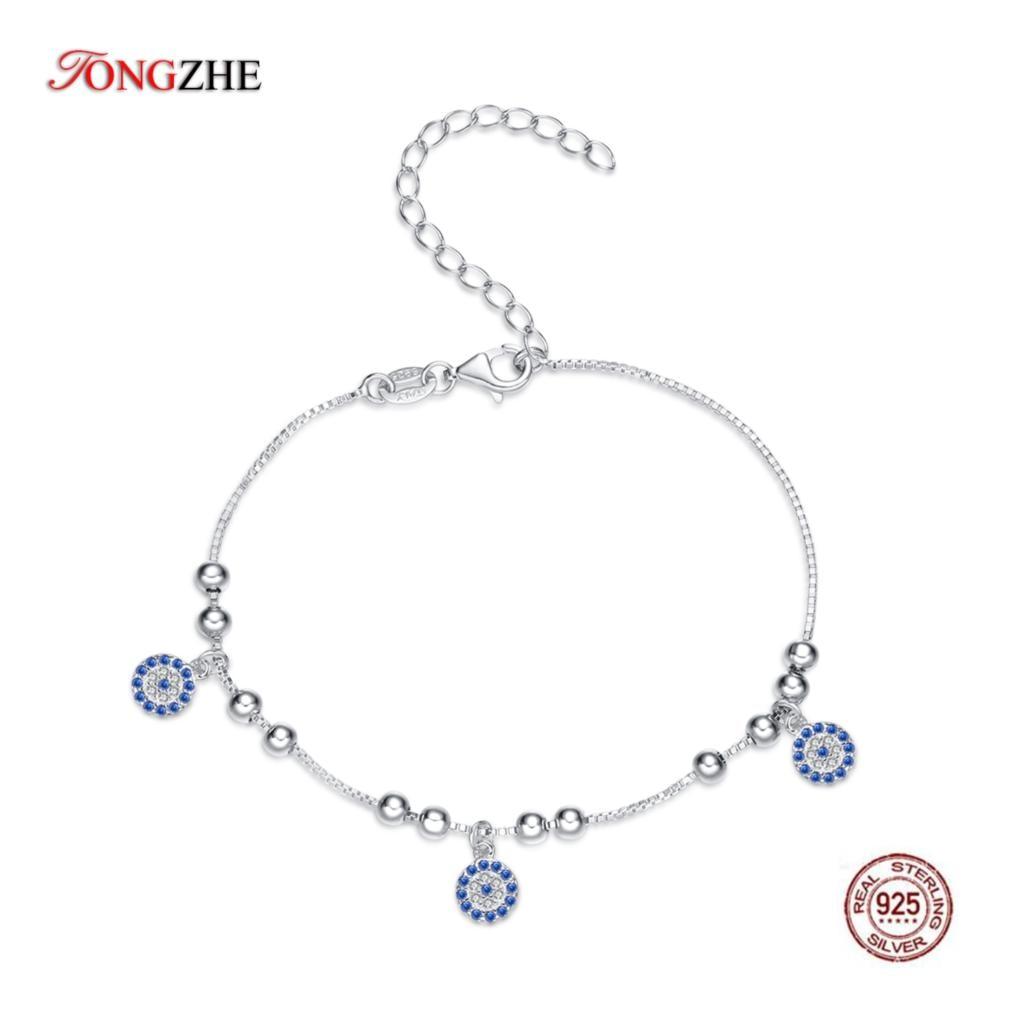 TONGZHE Authentique Femmes Bracelet En Argent Sterling 925 CZ Bleu Perles Rondes Bracelet Mauvais Oeil Turc Bracelets Bijoux