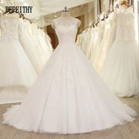High Quality Real Photo Vestido De Noiva New Design Elegant Scoop Appliques Beads Ivory Tulle A
