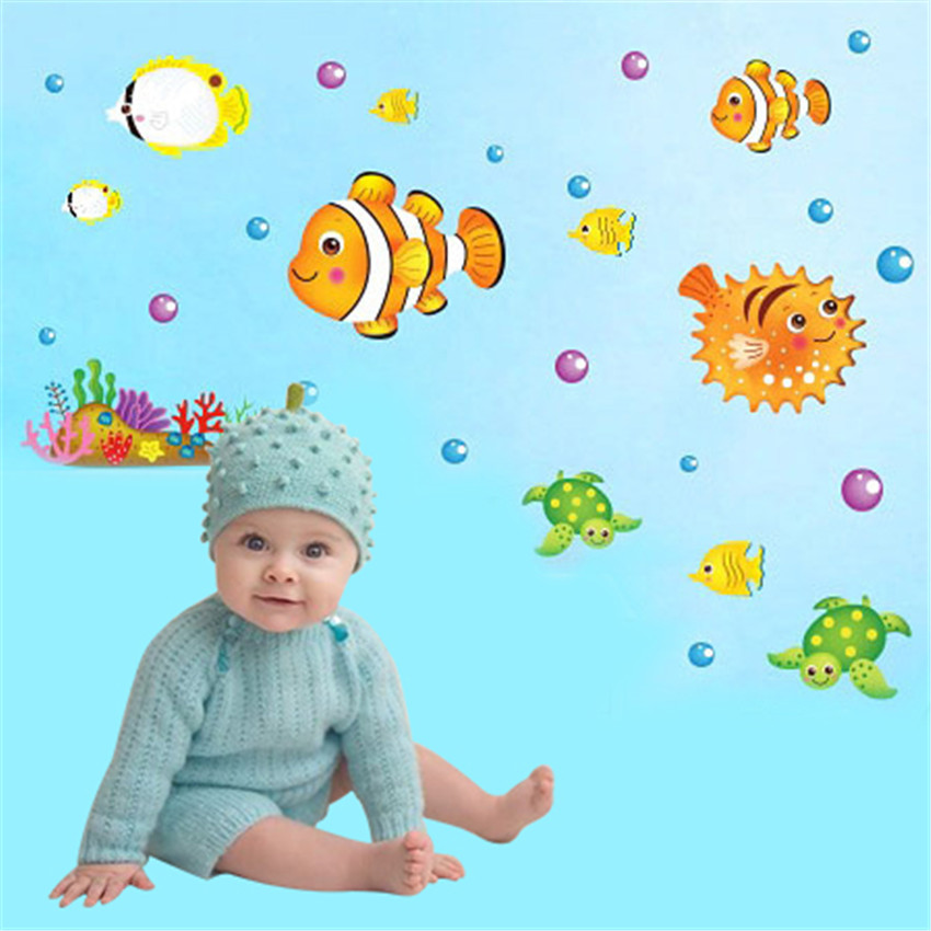 Cartoon Vinilos Infantiles Decorativos Fish Wall Sticker Home Decor For Kid Room and Bathroom Pegatinas De Pared Cool Wallpaper