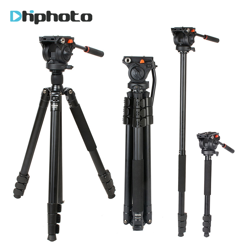 Coman Professional Aluminum Camera Video Tripod 1.8m with 360 Degree Fluid Head for Camcorder for Nikon Canon Sony Camera