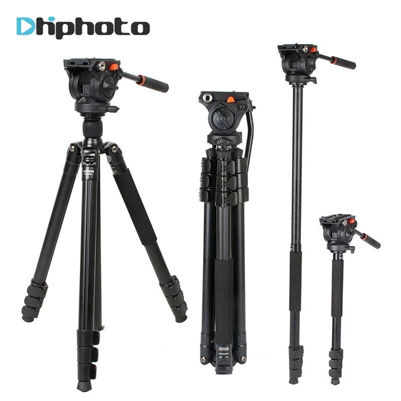 Coman Professionnel En Aluminium Caméra Vidéo Trépied 1.8 m avec 360 Degrés Tête Fluide pour Caméscope pour Nikon Canon Sony Caméra