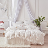 white luxury Lace Ruffle Embroidery 60S Egyptian cotton Bedding Set Duvet Cover Bed Linen Bed sheet Bed Skirt Pillowcases 4pcs