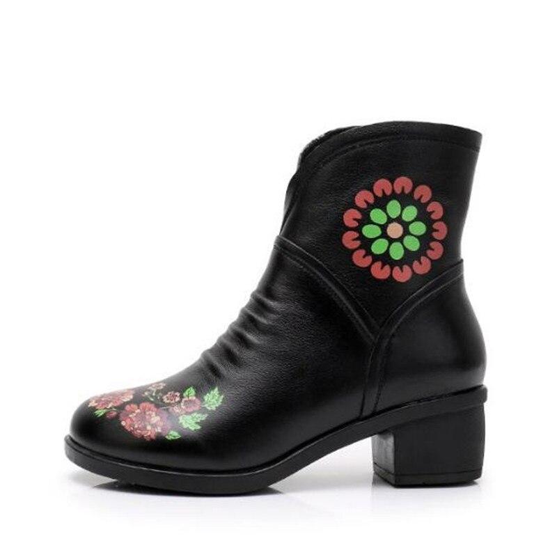 2018 Chaussures En black Boty Chaud Épais Talon Brodé Black Impression Grande Femmes Taille Fleurs Hiver Chaussons 43 Bottes 40 black Cuir HIWD9Y2beE