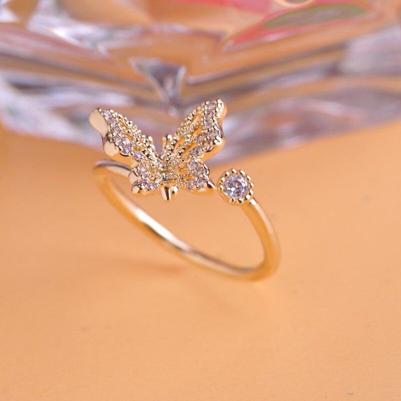 Online Shop Cute Zircon Butterfly Wedding Rings Korea Women Adjustable Aros Summer Anel Joyeria Bridal Party Bijoux Engagement Anillo Bague