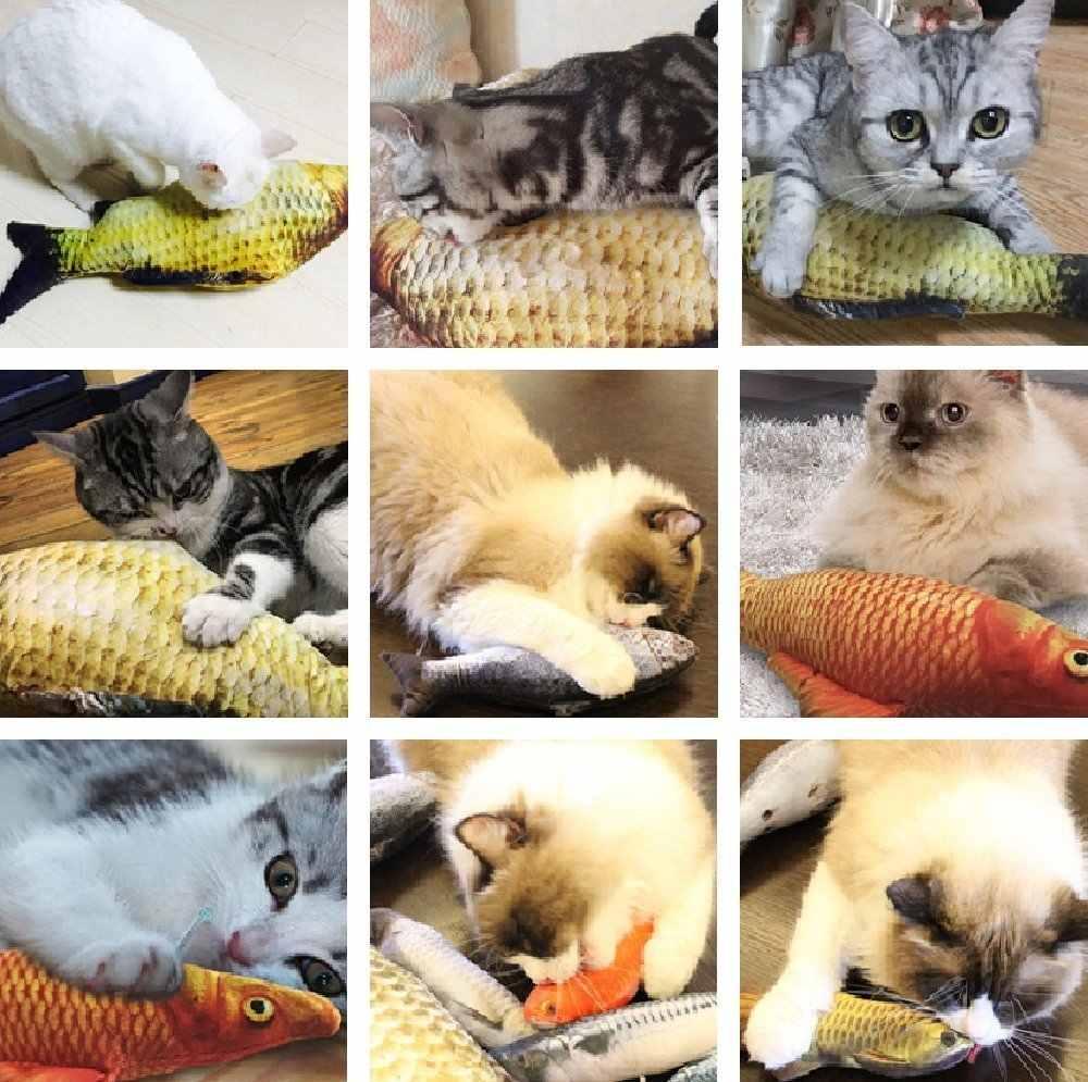 Zabawka-ryba s kocimiętka dla kota realistyczna pluszowa ryba wypchana poduszka żuć ugryzienie zabawka kotek ryba Flop kot zabawka-ryba D40