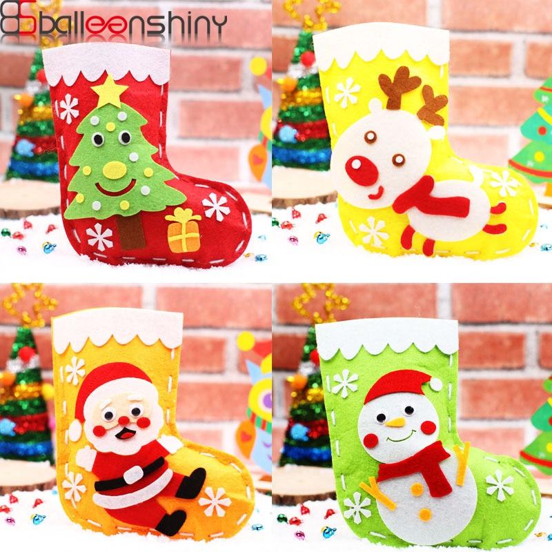 BalleenShiny DIY Handwork Christmas Socks Kids Animal Cartoon Chirstmas Bag Gifts Bag Toys Development Educational Toys Children