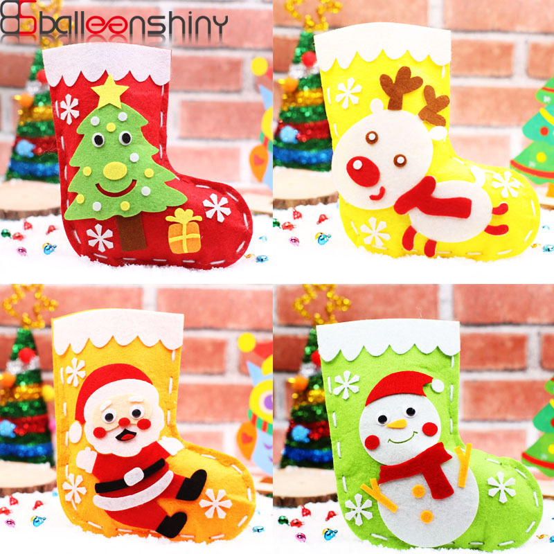 BalleenShiny Kids DIY Christmas-Stocking Toys Christmas Cartoon Candy Bag Xmas Kids Parent-Child Education Toy Party Decor Gifts