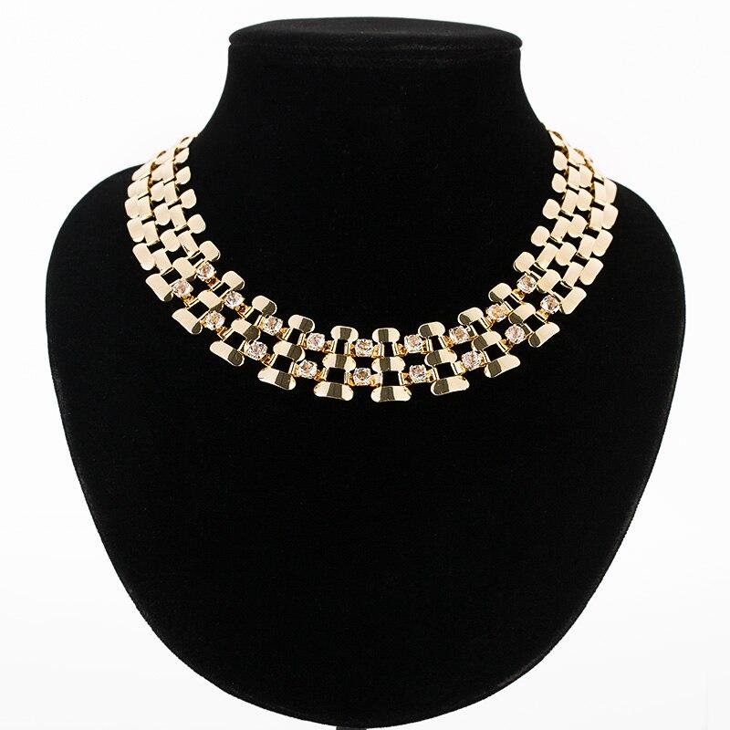 Fashion wide women choker necklace gold/s