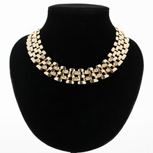Fashion women wide choker necklace zinc alloy gold/silver plated ladies chain necklaces trendy jewelry collier femme MDJB162