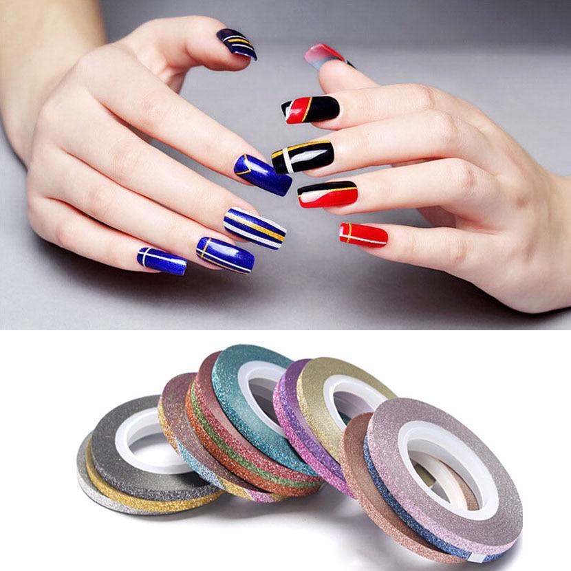 Gold Striping Tape Nail Art: 1Pcs New Nail Stickers Matte Scrub Metal Gold Silver 1mm