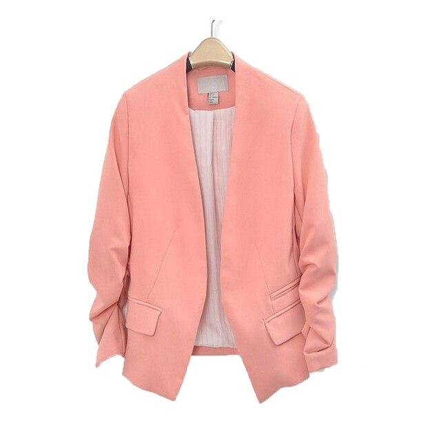 NEW Chic Basic Solid Color Fashion Blazer Women 3/4 Sleeve Pockets None Button Blazer Woman Slim Short Suit Jacket