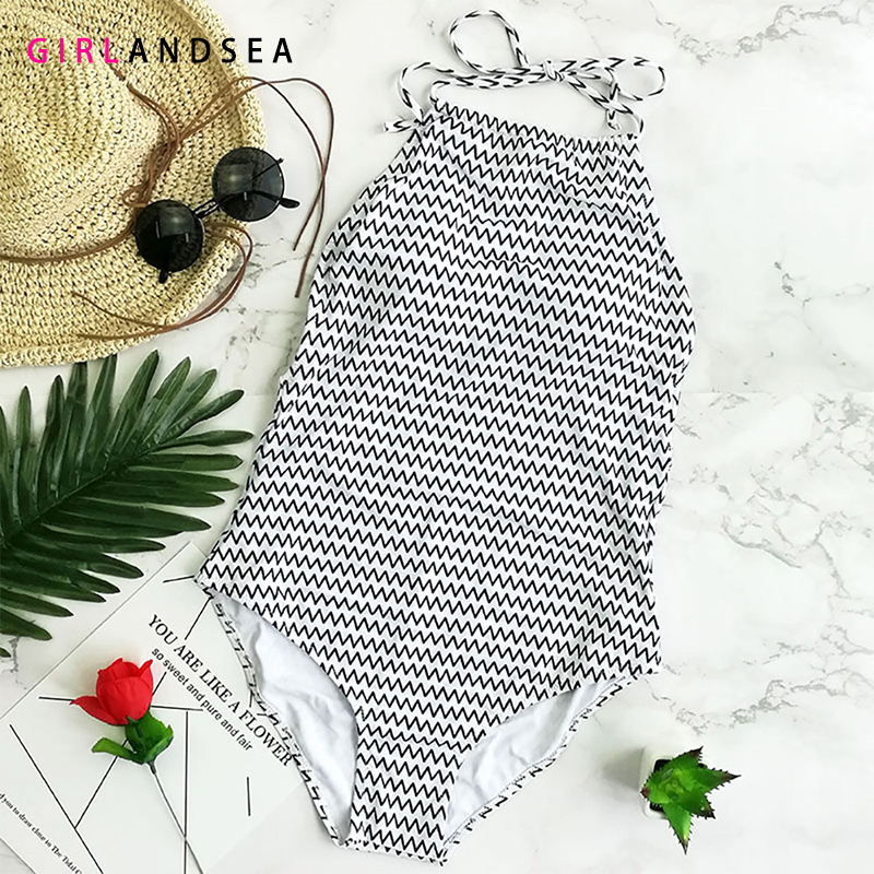 GIRLANDSEA New 2019 One pieces Swimsuit Plaid Swimsuit Striped Women Swimwear Female Ruffle Monokini bathing suits in Body Suits from Sports Entertainment