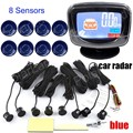 Car Parking Sensors 8 sensors for Rear and Front reverse Backup Radar Kit System with LCD Display Monitor 9 colors for option