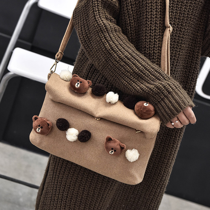50pcs/lot Fashion Cute Women Cartoon Bear Handbag Shoulder bag Female Crossbody Envelope Clutch Bag