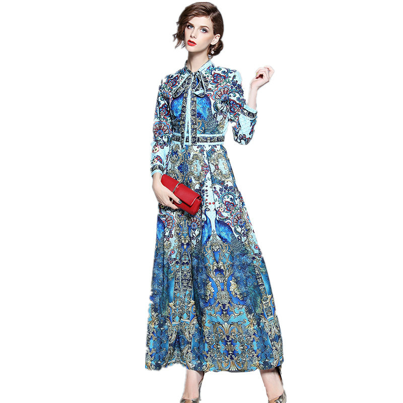 Maxi Dress Women Vintage Flower Print 2019 Fall Dress Work Casual Slim Runway Bow Tie Collar Long Sleeve Long Dresses Robe Femme