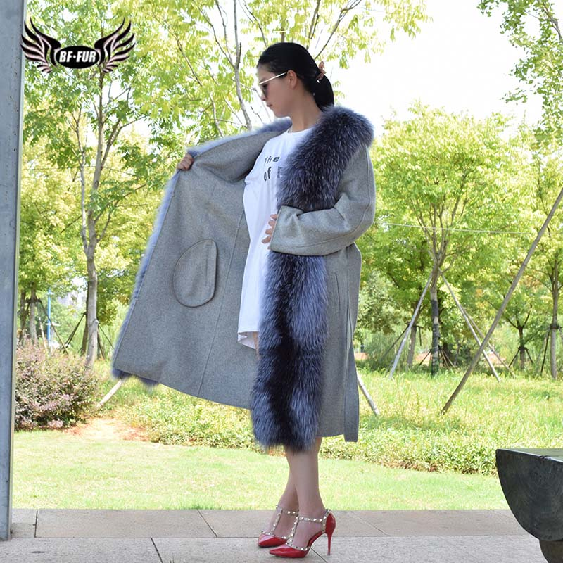 BFFUR Fashion Winter Woman Coat Female Jacket For Women Loose Clothing Oversized Outerwear Good Quality Real Fur Coat Plus Size