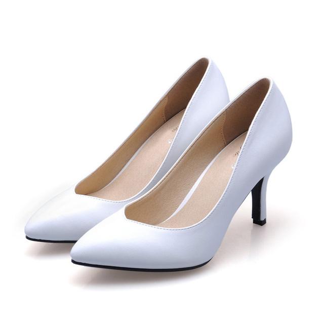 Nuevo 2017 Tamaño 33-41 de piel de Oveja Talon Blanco Sexy Punta estrecha Tacones Altos Mujeres Bombas Zapatos de Las Señoras Mujer Chaussure Femme