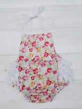 0-3 Year Baby Lace Romper,Begonia Flowers Baby Jumpsuit Ruffle Playsuit,Kids Summer Wear,#P0154